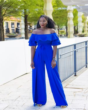 Wrap Front Wide Leg Pant blue