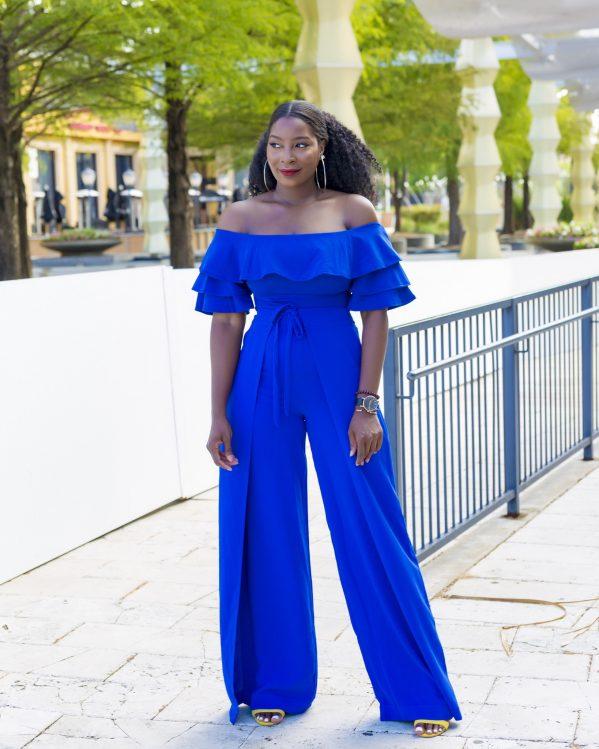 Wrap Front Wide Leg Pant blue