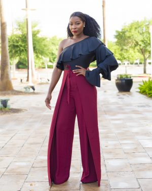 Wrap Front Wide Leg Pant burgundy