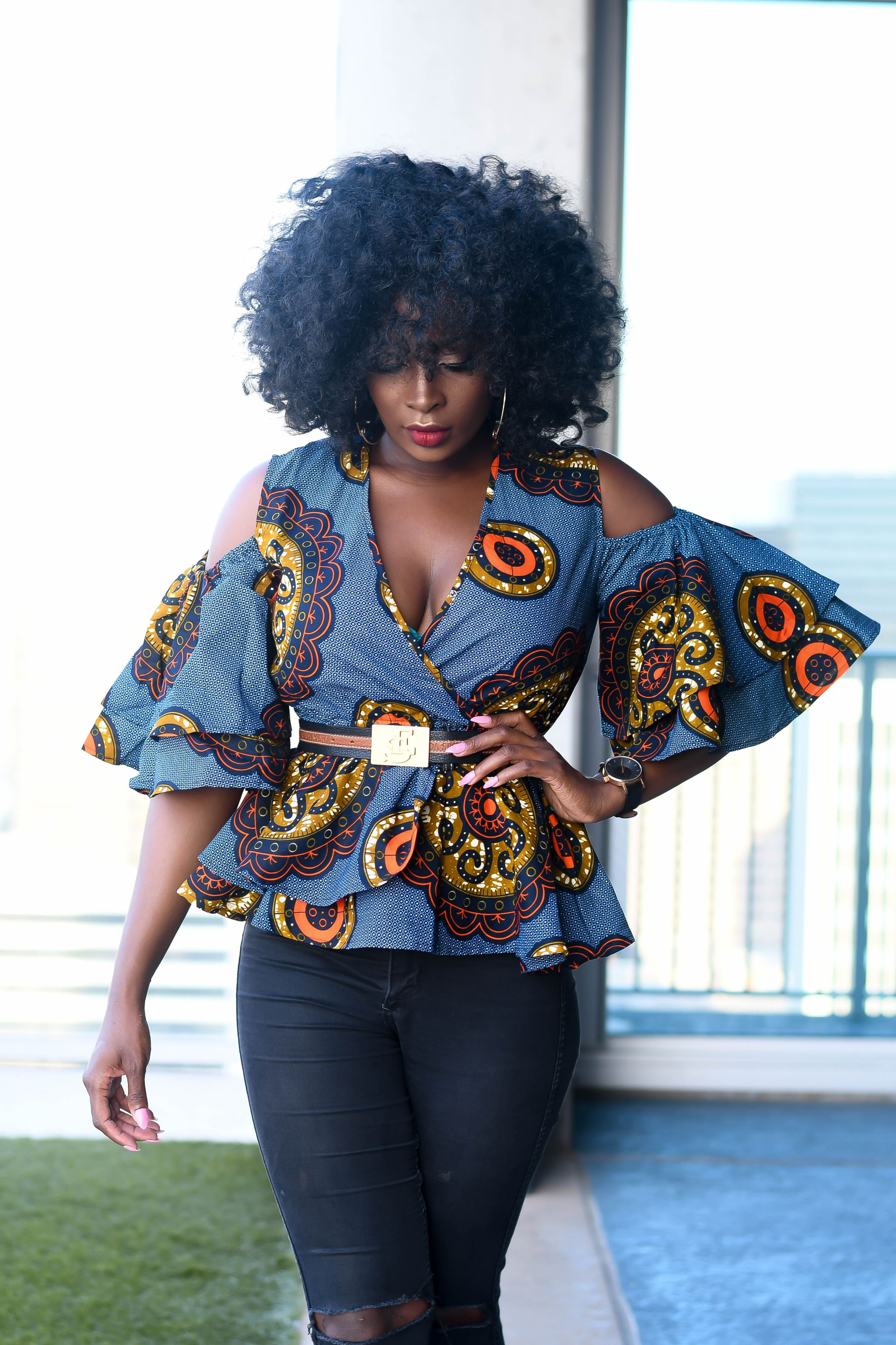 Top 9 Fashion Magazine Covers September 2013 Fashioncover: Adaora*** Ankara Peplum Top With Double Frills -Grey