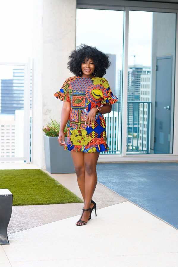 ankara shift dress with pockets