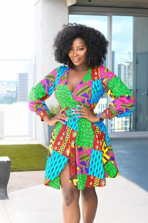 Ankara wrap dress with pockets