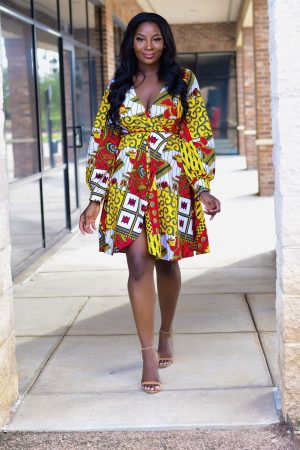 Ankara Wrap Midi dress