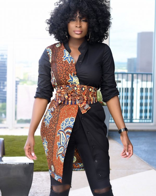 ankara shirt dress
